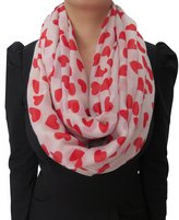 Lina & Lily Loving Hearts Print Infinity Scarf Valentine's Day Gift