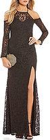 Sequin Hearts Cold-Shoulder Lace Long Dress
