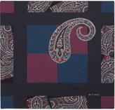 Etro Paisley Geometric Square Silk Pocket Square