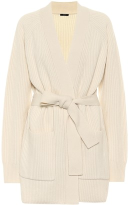 Joseph Ribbed-knit belted wool cardigan