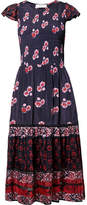 Sea Malaya Smocked Printed Voile Dress - Navy