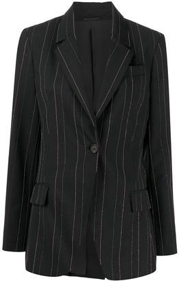 Brunello Cucinelli Beaded Pinstripe Wool Blazer