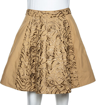 Roberto Cavalli Beige Embroidered Cotton Pleated Mini Skirt S