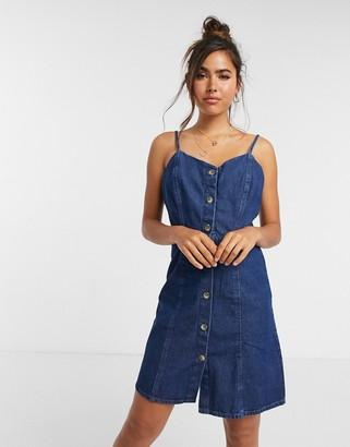 Pieces strappy denim dress in mid wash blue