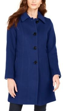 Anne Klein Single-Breasted Club-Collar Coat