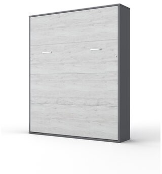 Orren Ellis Loxley Wall King Murphy Bed with Mattress Color: Gray/White Monaco, Size: European Queen