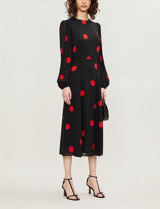 Reformation Luanne polka dot crepe midi dress