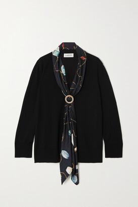 Lanvin - Wool And Printed Silk-twill Cardigan - Black