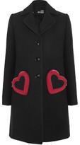 Love Moschino Embellished Brushed-Twill Coat