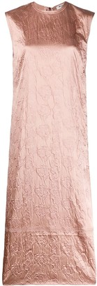 Acne Studios Flower-Embossed Satin Midi Dress