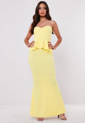 Missguided Bridesmaid Lemon Sweetheart Bandeau Peplum Maxi Dress