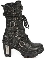 New Rock Vintage Floral Gothic Rock Punk Ladies Buckle and Lace up Leather Boots