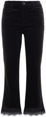 J Brand Lace-trimmed Velvet Kick-flare Pants