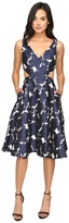 Adrianna Papell Jacquard Sleeveless Deep V-Neck Ball Skirt Dress Women's Dress