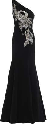 Marchesa One-shoulder Embellished Embroidered Cady Gown