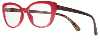 Foster Grant Women's Modera by Camilla Leopard Oversized Cat-Eye Reading Glasses
