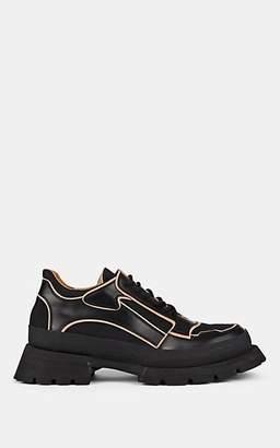 Jil Sander Men's Oversized-Sole Leather-Trimmed Sneakers - Black