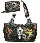 HBM Western Brown Camouflage Buckle Concealed Purse W Matching Wallet