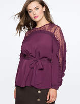 ELOQUII Lace Overlay Long Sleeve Top