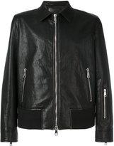 Neil Barrett zip detail leather jacket - men - Leather/Polyamide/Spandex/Elastane/Cupro - L