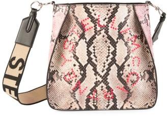 Stella McCartney Mini Stella Logo Snakeskin-Embossed Shoulder Bag