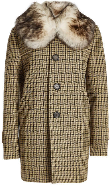 Marc Jacobs Printed Coat with Fur Collar