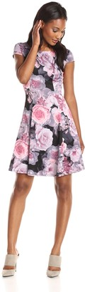 Betsey Johnson Women's Printed Floral Scuba Fit Flare Dress