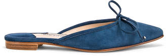 Manolo Blahnik Ballerimu Slide in Blue Suede | FWRD