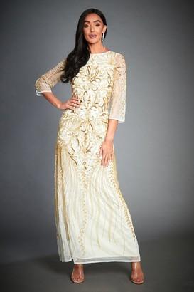 Off-White Jywal London TESSY GOLD EMBELLISHED EVENING LONG SLEEVE MAXI DRESS