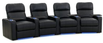 Latitude Run Leather Home Theater Row Seating (Row of 4) Latitude Run Upholstery Color: Luxe Black, Recliner Type: Power