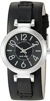 Nine West Women's NW/1867BKBK Silver-Tone and Black Cuff Strap Watch