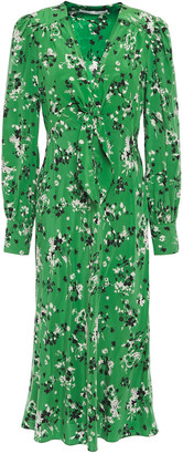 Veronica Beard Amber Floral-print Stretch-silk Crepe De Chine Midi Dress