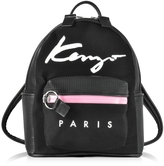 Kenzo Paris Signature Black Canvas and Perforated Eco Leather Small Backpack