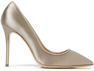 Giuseppe Zanotti Lucrezia 105 Leather-trimmed Satin Pumps
