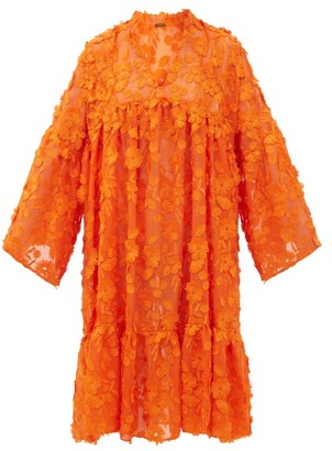 Dodo Bar Or Nell Floral-applique Cotton-voile Dress - Orange
