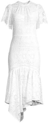 Shoshanna Trinette Lace Flounce Midi Dress