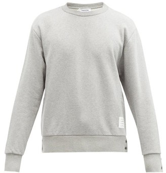 Thom Browne Tricolor-jacquard Cotton-jersey Sweatshirt - Mens - Light Grey