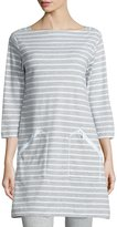 Joan Vass Striped Interlock Tunic, Gray/White