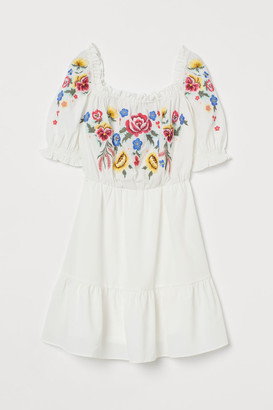 H&M Embroidered Dress - White
