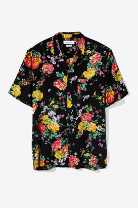 Urban Outfitters Liam Organic Floral Short Sleeve Button-Down Shirt