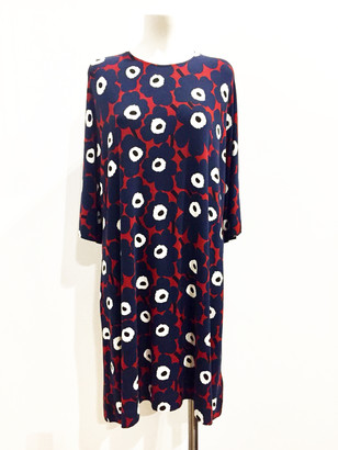 Marimekko Petrina Straight Cut Loose Wide Sleeves Dress - S - Red/Blue/White