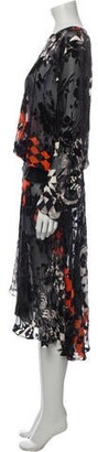 Preen by Thornton Bregazzi Floral Print Long Dress Black