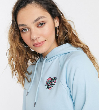 Santa Cruz Heart Dot embroidered cropped hoodie in blue Exclusive at ASOS
