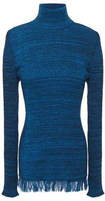 Marni Frayed Melange Ribbed Cotton Turtleneck Sweater