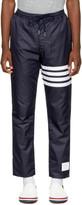 Thom Browne Navy Ripstop Four Bar Zip-up Lounge Pants