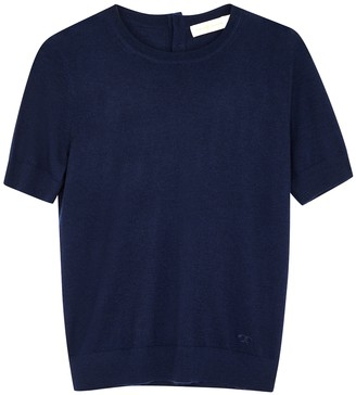 Tory Burch Navy Fine-knit Cashmere Top