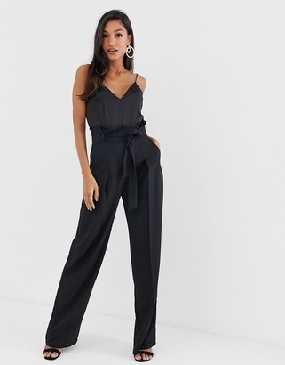 Asos Design DESIGN paperbag waist cami jumpsuit-Black