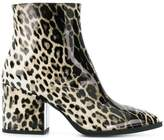 McQ leopard print pointed ankle boots