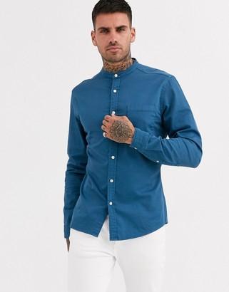 Asos DESIGN stretch slim denim shirt in blue with grandad collar