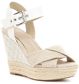 GUESS Sanda Leather Banded Ankle Strap Espadrille Wedge Sandals